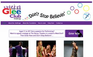 Glee Club Challenge website design Hertfordshire